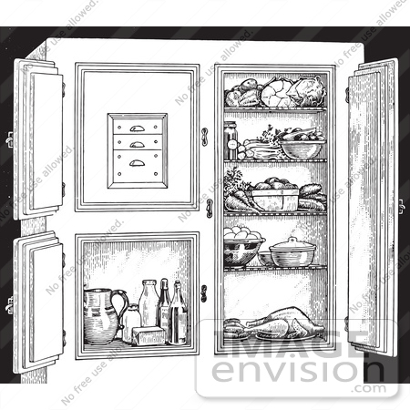 #61339 Retro Clipart Of A Vintage Antique Refrigerator With Food, In Black And White - Royalty Free Vector Illustration by JVPD