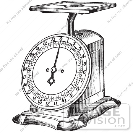 #61340 Retro Clipart Of A Vintage Kitchen Scale In Black And White - Royalty Free Vector Illustration by JVPD