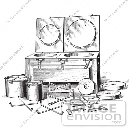 #61341 Retro Clipart Of A Vintage Antique Fireless Cooker And Stones In Black And White - Royalty Free Vector Illustration by JVPD