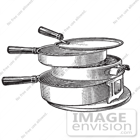 #61344 Retro Clipart Of A Vintage Antique Hot Plate Or Grill  In Black And White - Royalty Free Vector Illustration by JVPD