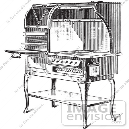 #61346 Retro Clipart Of A Vintage Antique Electric Stove In Black And White - Royalty Free Vector Illustration by JVPD