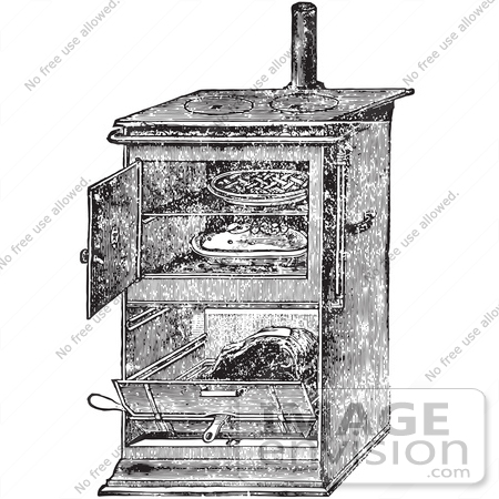 #61348 Retro Clipart Of A Vintage Antique Gas Cooking Stove With Food Baking In The Oven, In Black And White - Royalty Free Vector by JVPD