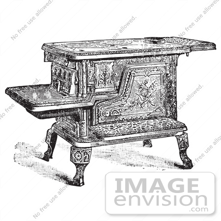 61350 Retro Clipart Of A Vintage Antique Wood Or Coal Cooking Stove In Black And