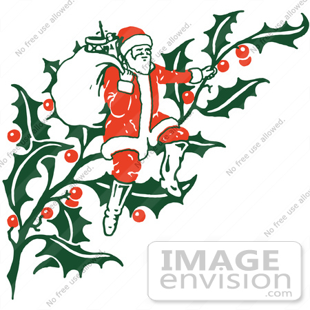 Clipart Of A Retro Christmas Santa Claus Sitting On Holly With A ...