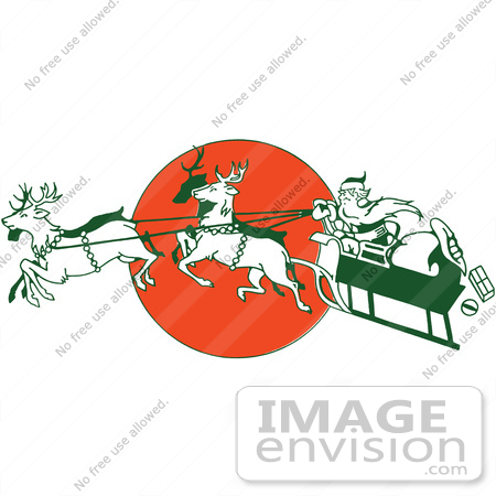 61358 Clipart Of A Retro Christmas Santa Claus Controlling Flying Reindeer Sleigh Over