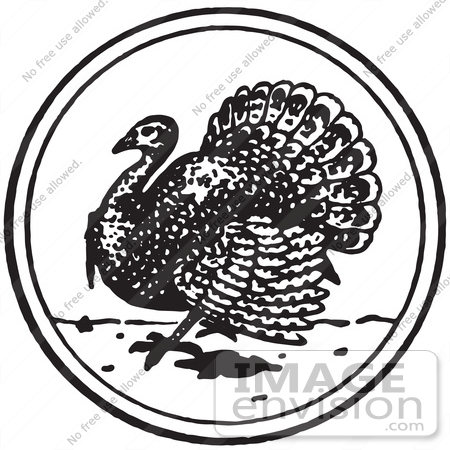 61369 Retro Clipart Of A Vintage Thanksgiving Turkey Bird Circle In Black And White