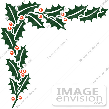 #61391 Clipart Of A Retro Christmas Holly Corner Border - Royalty Free Vector Illustration by JVPD