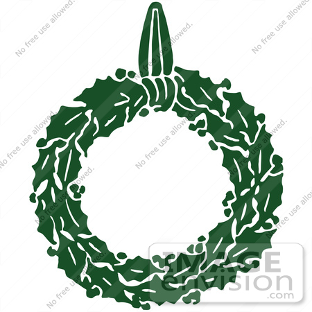 Clipart Of A Retro Green Christmas Holly Wreath - Royalty Free Vector ...