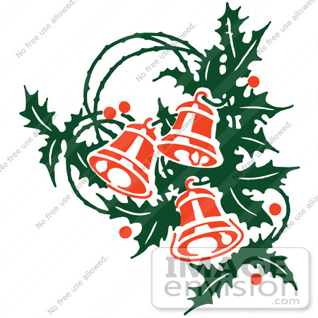 Clipart Of Retro Christmas Holly Sprig And Ringing Bells - Royalty ...