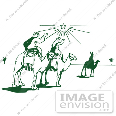 Royalty free clipart illustration of a retro christmas three wise men ...