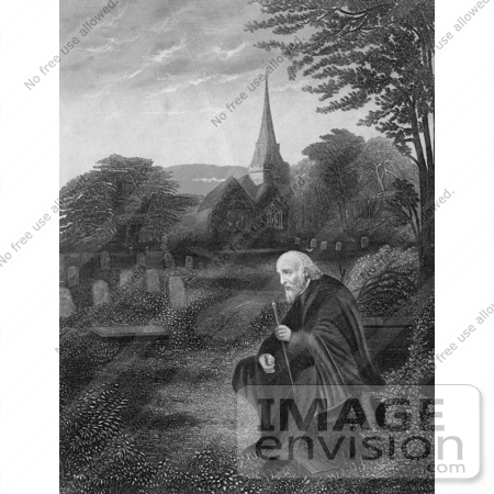 #61437 Retro Clipart Of A Lone Elderly Man In A Cemetery Near A Church, In Black And White - Royalty Free Illustration by JVPD