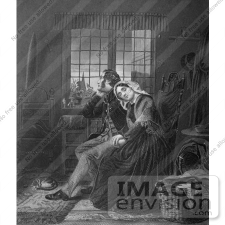 #61439 Retro Clipart Of A Cat And Mourning Couple Shown In BEREAVEMENT, In Black And White - Royalty Free Illustration by JVPD