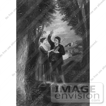 #61440 Retro Clipart Of A Couple Taking A Vow On River Stepping Stones, In Black And White - Royalty Free Illustration by JVPD