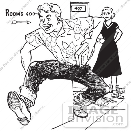 #61447 Retro Clipart Of A Vintage Teenage High School Boy Rudely Knocking Down A Girls Books, In Black And White - Royalty Free Vector Illustration by JVPD