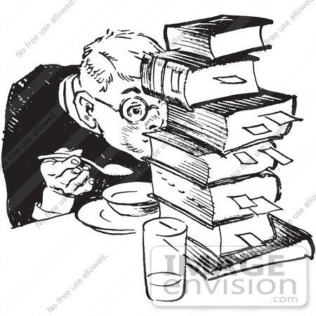 Retro Clipart Of A Vintage Teenage Boy Hiding Behind Books While