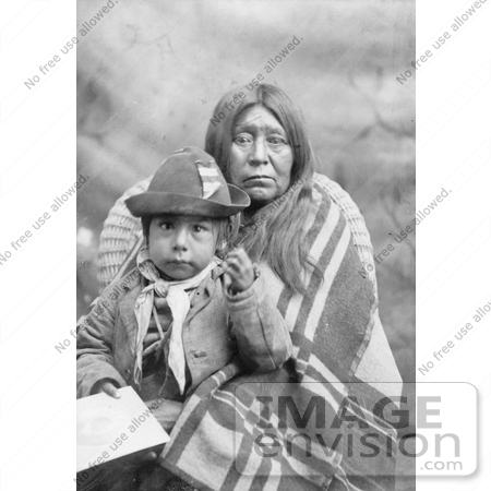 #6147 Stock Photo of an Eggelston Native American Mother Sitting With Her Child by JVPD