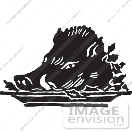 Retro Clipart Of A Vintage Roasted Hog Pigs Head In Black And ...