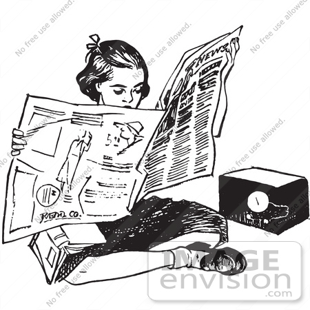 61479 Retro Clipart Of A Vintage Teen Girl Readig Newspaper On The Floor In