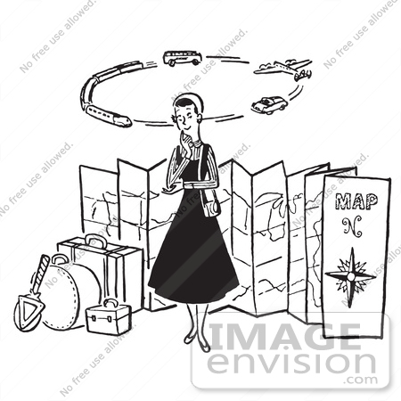 #61485 Retro Clipart Of A Vintage Lady Thinking Of Modes Of Transportation To Embark On Her Traveling Journeys - Royalty Free Vector Illustration by JVPD