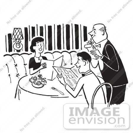 #61487 Retro Clipart Of A Vintage Polite Happy Couple And Waiter Taking Their Order At A Restaurant - Royalty Free Vector Illustration by JVPD