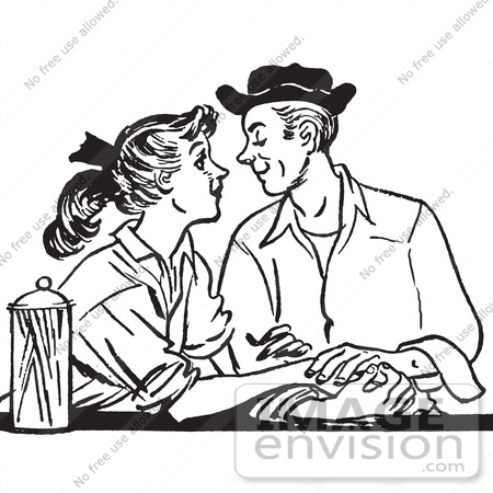 Retro Clipart Of A Vintage Teenage Couple Swooning At A Diner In ...