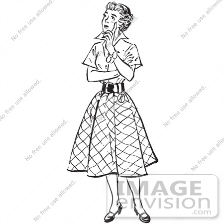 61512 Retro Clipart Of A Vintage Teenage Girl Thinking In Black And White