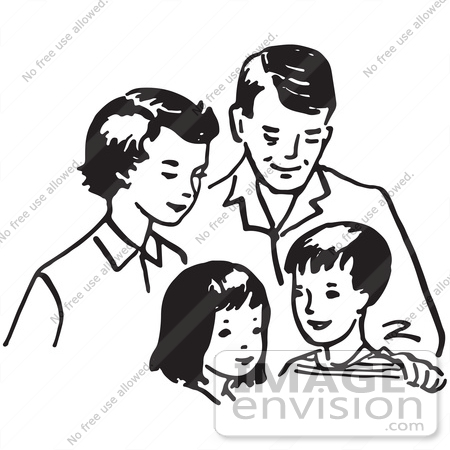 happy retro family in black and white   0003-1311-1922-3942  by 0003Happy Family Cartoon Black And White