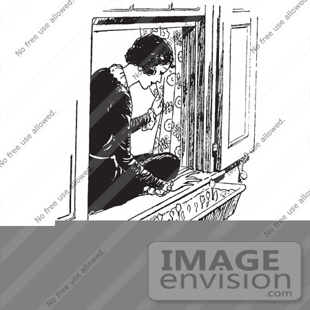 Clipart Of A Retro Woman Sitting In A Window Sill And Looking At ...