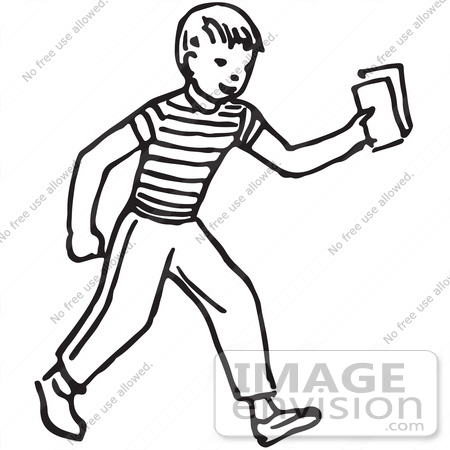 Clipart Of A Boy Holding Out Money Or Tickets In Black And White ...