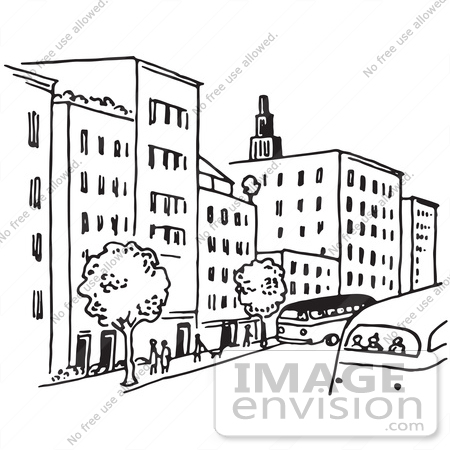 61676 Clipart Of A City Street In Black And White