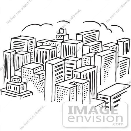 Clipart Of A City Of Skyscrapers In Black And White ...