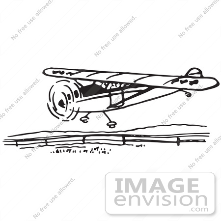 #61687 Clipart Of A Flying Airplane In Black And White - Royalty Free Vector Illustration by JVPD
