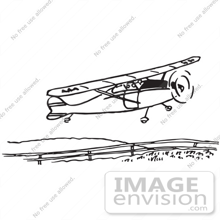 #61690 Clipart Of A Flying Airplane In Black And White 2 - Royalty Free Vector Illustration by JVPD