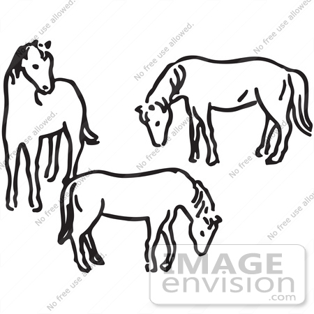 clipart of three horses in black and white royalty free vector rh imageenvision com World of Horses Black and White Clip Art Cartoon Horse Clip Art of Black and White