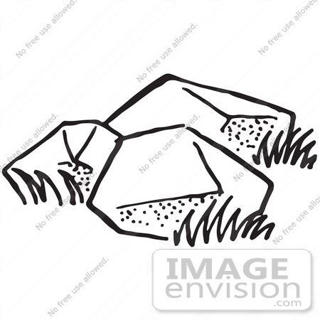 #61743 Clipart Of Boulders In Black And White - Royalty Free Vector Illustration by JVPD