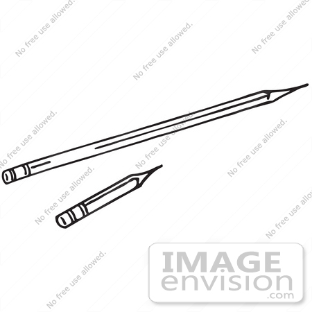 #61744 Clipart Of Short And Long Pencils In Black And White - Royalty Free Vector Illustration by JVPD