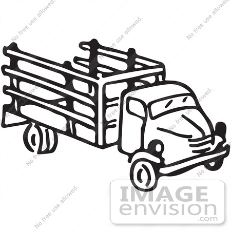 Clipart Of A Truck In Black And White - Royalty Free Vector ...