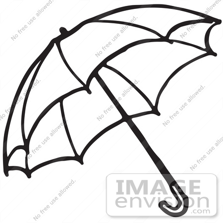 Clipart Of An Umbrella In Black And White 2
