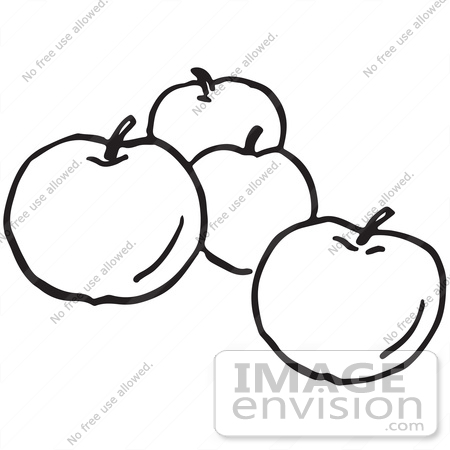 Basket of Apples Clipart Black And White Apples in Black And White