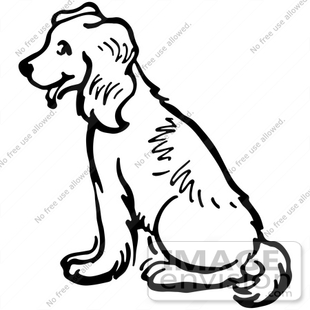 Clipart Of A Happy Sitting Dog In Black And White Royalty Free Vector Illustration 61796 By Jvpd Royalty Free Stock Cliparts