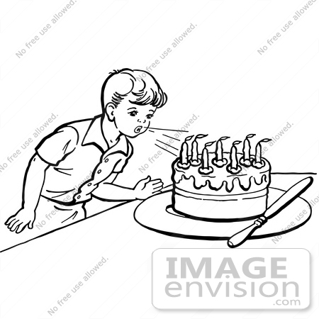Clipart Of A Retro Boy Blowing Out Birthday Cake Candles In Black