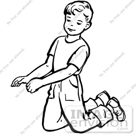 #61827 Clipart Of A Retro Boy Kneeling In Black And White - Royalty Free Vector Illustration by JVPD
