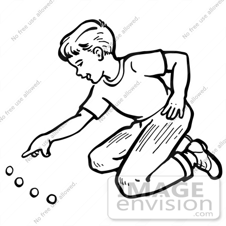 #61828 Clipart Of A Retro Boy Playing With Marbles In Black And White - Royalty Free Vector Illustration by JVPD