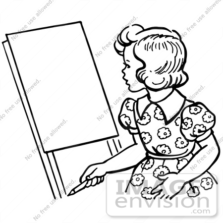 #61848 Clipart Of A Retro Girl Looking At An Easel In Black And White - Royalty Free Vector Illustration by JVPD