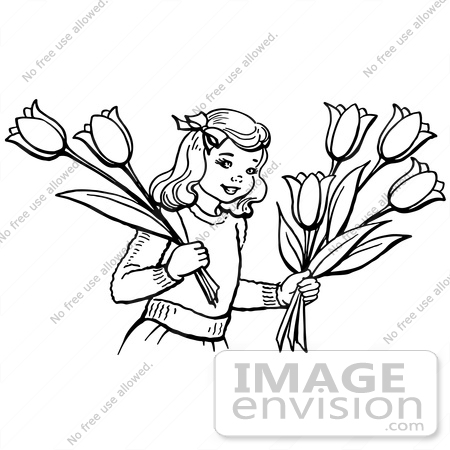 Clipart of a retro girl holding tulip flowers in black and white 61850 clipart of a retro girl holding tulip flowers in black and white royalty mightylinksfo