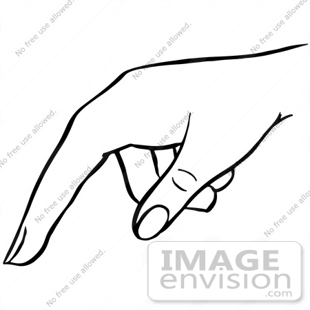 #61852 Clipart Of A Pointing Hand In Black And White - Royalty Free Vector Illustration by JVPD