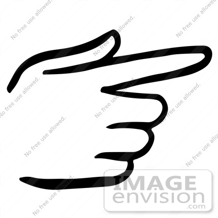 Clipart Of A Pointing Hand In Black And White - Royalty Free ...