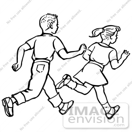 Clipart Of A Retro Boy And Girl Running In Black And White - Royalty ... Run Clip Art Black And White