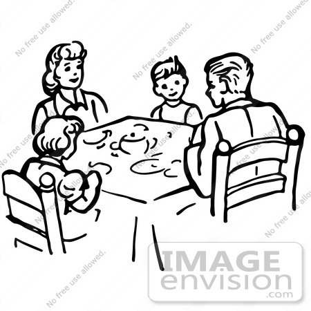 61865 Clipart Of A Family Eating Supper At Table In Black And White