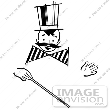 #61879 Clipart Of A Happy Retro Boy With A Mustache And Magic Wand, In Black And White - Royalty Free Vector Illustration by JVPD